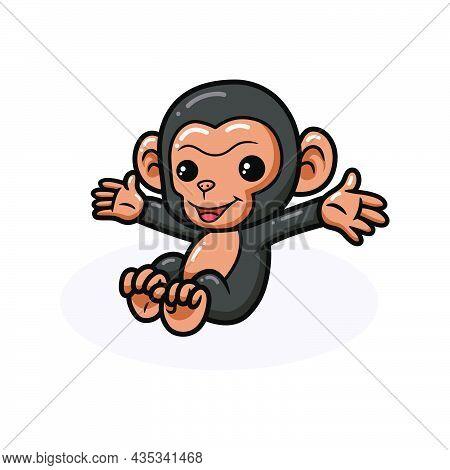 Vector Illustration Of Cute Baby Chimpanzee Cartoon Sitting