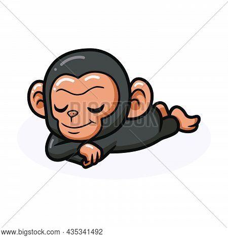 Vector Illustration Of Cute Baby Chimpanzee Cartoon Sleeping