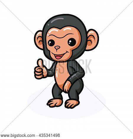 Cute Baby Chimpanzee Cartoon Giving Thumb Up