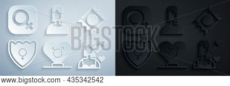 Set Gender, Condom In Package, Shield, Female, Love Yourself, And Gender Icon. Vector