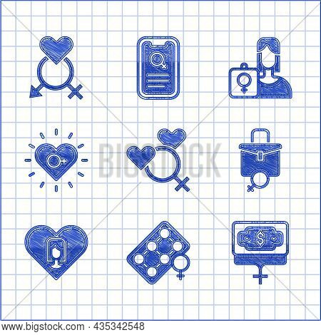 Set Female Gender, Packaging Of Birth Control Pills, Money Growth Woman, Work For Female, Heart With