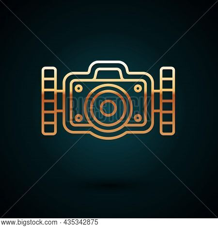 Gold Line Photo Camera For Diver Icon Isolated On Dark Blue Background. Foto Camera Icon. Diving Und