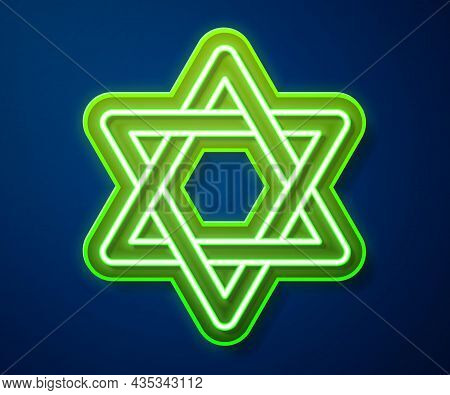 Glowing Neon Line Star Of David Icon Isolated On Blue Background. Jewish Religion Symbol. Symbol Of