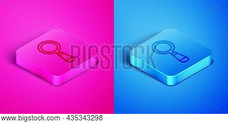 Isometric Line Magnifying Glass Icon Isolated On Pink And Blue Background. Search, Focus, Zoom, Busi