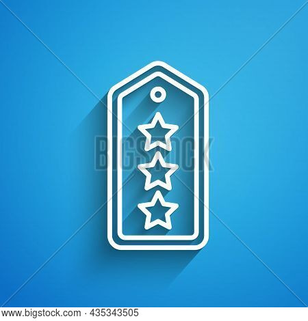 White Line Military Rank Icon Isolated On Blue Background. Military Badge Sign. Long Shadow. Vector