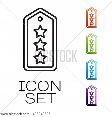 Black Line Military Rank Icon Isolated On White Background. Military Badge Sign. Set Icons Colorful.