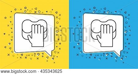 Set Line Cleaning Service Icon Isolated On Yellow And Blue Background. Latex Hand Protection Sign. H