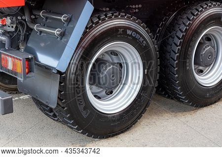 A Close-up Of The Rear Wheels Of A Truck With New Michelin X Works Tires. Tubeless Tires On A Clean