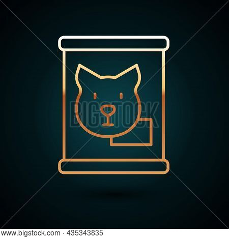 Gold Line Canned Food Icon Isolated On Dark Blue Background. Food For Animals. Pet Food Can. Dog Bon