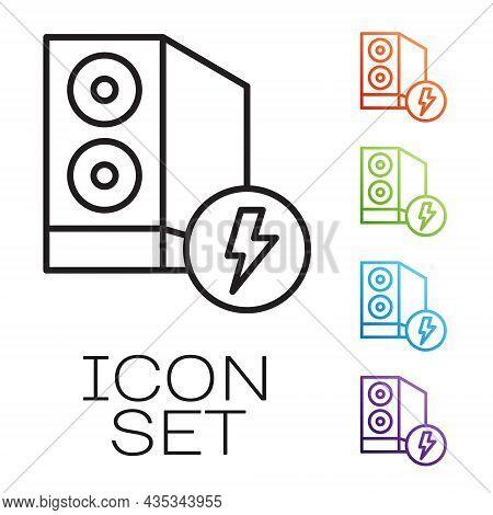Black Line Case Of Computer Icon Isolated On White Background. Computer Server. Workstation. Set Ico