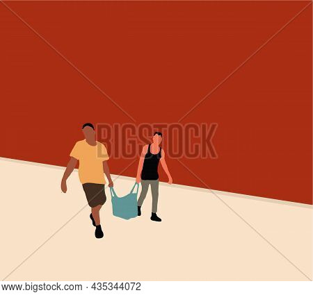 Two Men Carrying Paper Bag Walking On Street Of The Traditional Market. Vector Illustration.