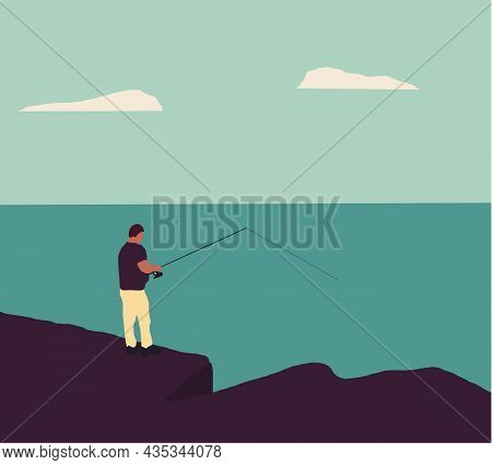 Man Fishing On The Rocks At The Sea. Fishing Concept. Outdoor Hobby, Activity And Leisure For Fisher