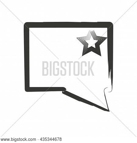 Message Sign With Star. Rectangle Speech Dialogue Icon. Communication Background. Vector Illustratio