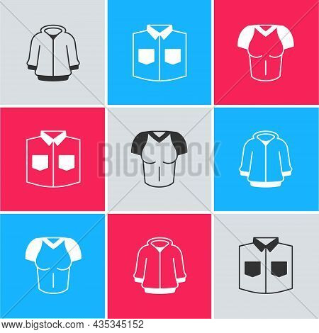 Set Hoodie, Shirt And T-shirt Icon. Vector
