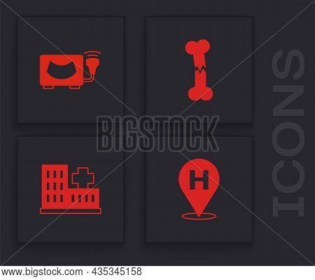 Set Location Hospital, Ultrasound, Human Broken Bone And Hospital Building Icon. Vector