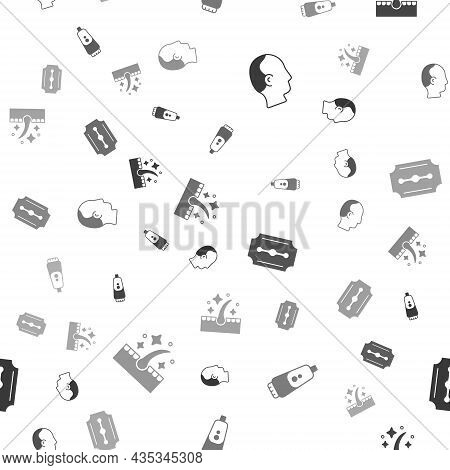 Set Baldness, Electric Razor Blade, Blade And Oil For Hair Care Treatment On Seamless Pattern. Vecto
