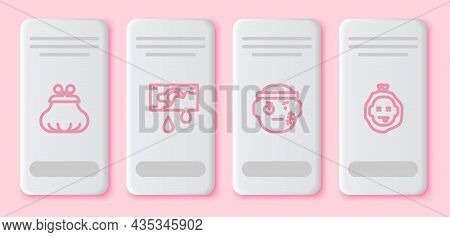 Set Line Wallet, Bloody Money, Bandit And Murder. White Rectangle Button. Vector