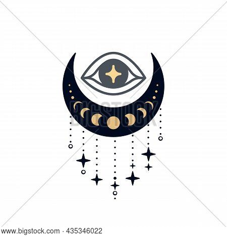 Eye Of Providence Over Crescent With Decoration. Sacred Mystical Symbol