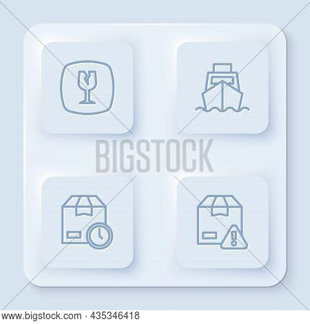 Set Line Fragile Broken Glass, Cargo Ship With Boxes Delivery, Cardboard Clock And Delivery Security