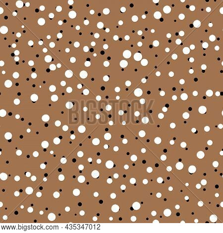 Abstract Hand Drown Polka Dots Background. Beige Dotted Seamless Pattern With White Circles. Templat