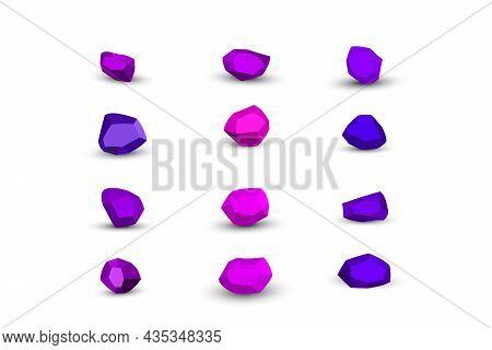 Cartoon Purple, Violet Stones. Rock Stone Isometric Set. Colorful Boulders, Natural Building Block S
