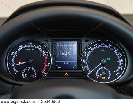 Novosibirsk, Russia - September  12, 2021: Scoda Rapid, Sign And Symbol On Car Dashboard. Car Speedo