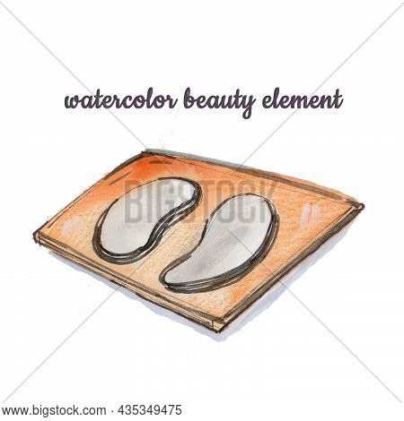 Beautiful Abstract Watercolour Eyelash Extension Patch On White Background. Isolated Set Watercolor