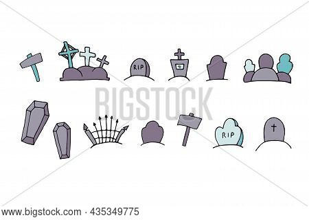 Vector Doodle Sepulcher Set. Grave, Coffin Isolated On White Background. Headstone, Crosses, Tomb On