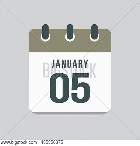Icon Day Date 5 January, Template Calendar Page
