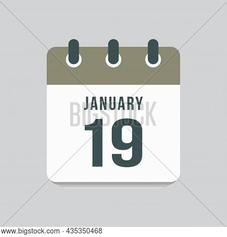 Icon Day Date 19 January, Template Calendar Page