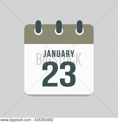 Icon Day Date 23 January, Template Calendar Page