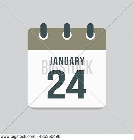 Icon Day Date 24 January, Template Calendar Page