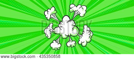Surprising Boom Cloud In Halftone Background For Sales And Promotions. Green Banner Template For Sur