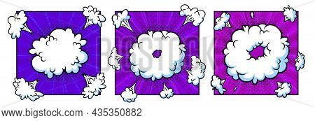 Surprising Boom Cloud In Halftone Background For Sales And Promotions. Purple Banner Template For Su