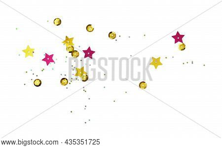 Scattered Golden Seqines And Stars Isolated On White Background