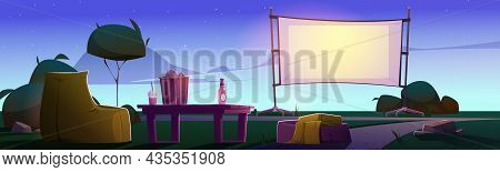 Open Air Cinema On Lawn With Big Screen, Chairs And Table At Evening. Vector Cartoon Illustration Of