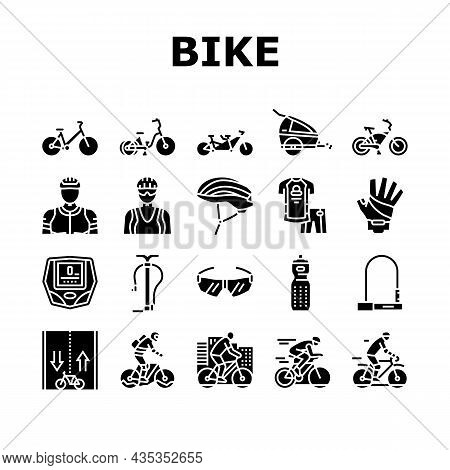 Bike Transport And Accessories Icons Set Vector. Bike And Tricycle, Rider Protective Helmet And Clot