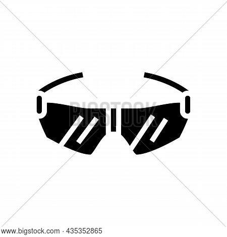 Glasses Cyclist Accessory Glyph Icon Vector. Glasses Cyclist Accessory Sign. Isolated Contour Symbol