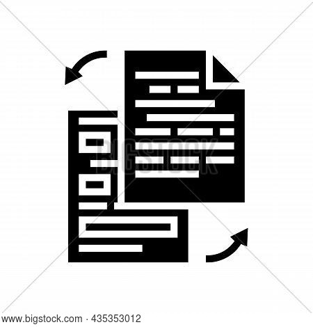 Rewriting Text Glyph Icon Vector. Rewriting Text Sign. Isolated Contour Symbol Black Illustration
