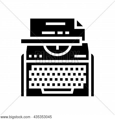 Typewriter Equipment Glyph Icon Vector. Typewriter Equipment Sign. Isolated Contour Symbol Black Ill
