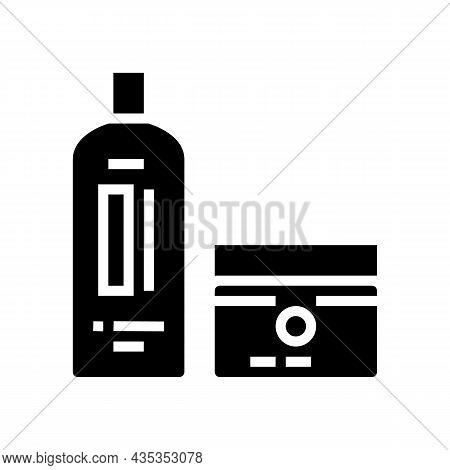 Perm And Hair Straightener Packages Glyph Icon Vector. Perm And Hair Straightener Packages Sign. Iso