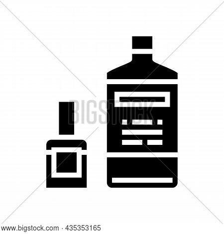 Nail Polish Remover Bottles Glyph Icon Vector. Nail Polish Remover Bottles Sign. Isolated Contour Sy