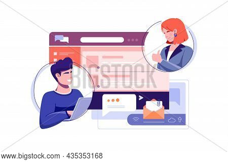 Co Workers Discussing Problem In Work Chat Vector Illustration. Open Website With Messages Flat Styl