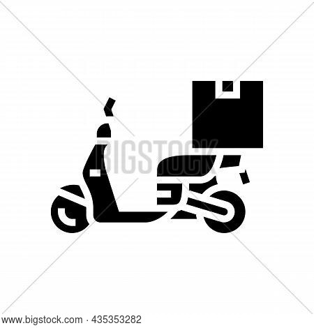 Motorbike Delivery Glyph Icon Vector. Motorbike Delivery Sign. Isolated Contour Symbol Black Illustr