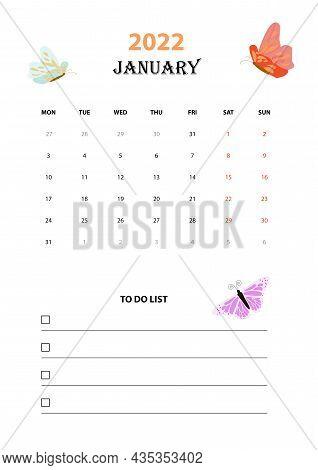 Printable Monthly Blank Calendar 2022. January  To Do List. Minimalist Letterhead Design. White Back