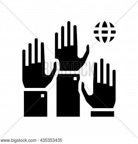 Democracy World Glyph Icon Vector. Democracy World Sign. Isolated Contour Symbol Black Illustration