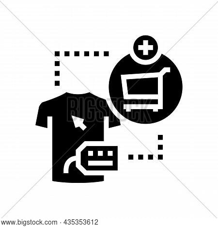 Add To Cart Glyph Icon Vector. Add To Cart Sign. Isolated Contour Symbol Black Illustration