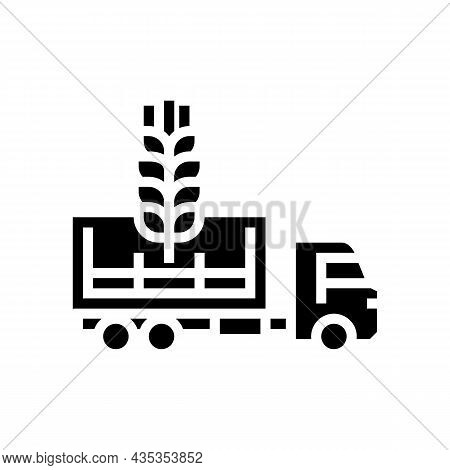 Delivery Wheat Glyph Icon Vector. Delivery Wheat Sign. Isolated Contour Symbol Black Illustration