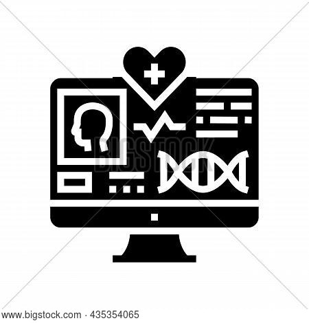 Telehealth Researching Glyph Icon Vector. Telehealth Researching Sign. Isolated Contour Symbol Black