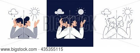 Bipolar Disorder Illustration Set. Man Suffers From Mood Swings, Split Mania And Depression Period.